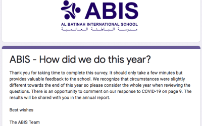 ABIS Parent Questionnaire – How did we do this Year?